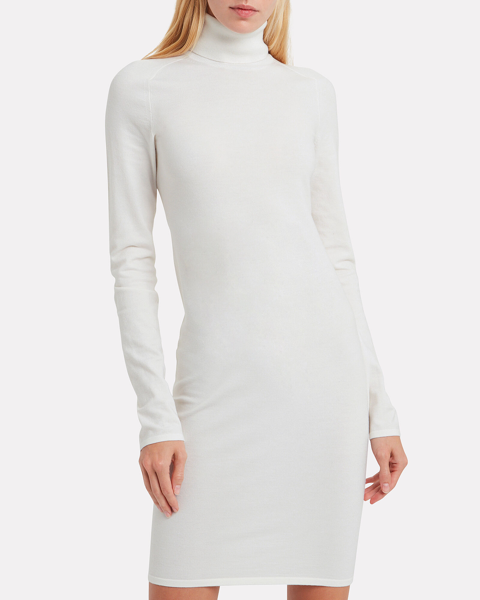 Compact Wool Sweater Dress, PORCELAIN, hi-res