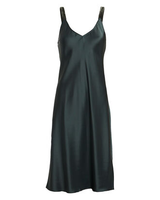 Velvet-Trimmed Satin Slip Dress, FOREST GREEN, hi-res