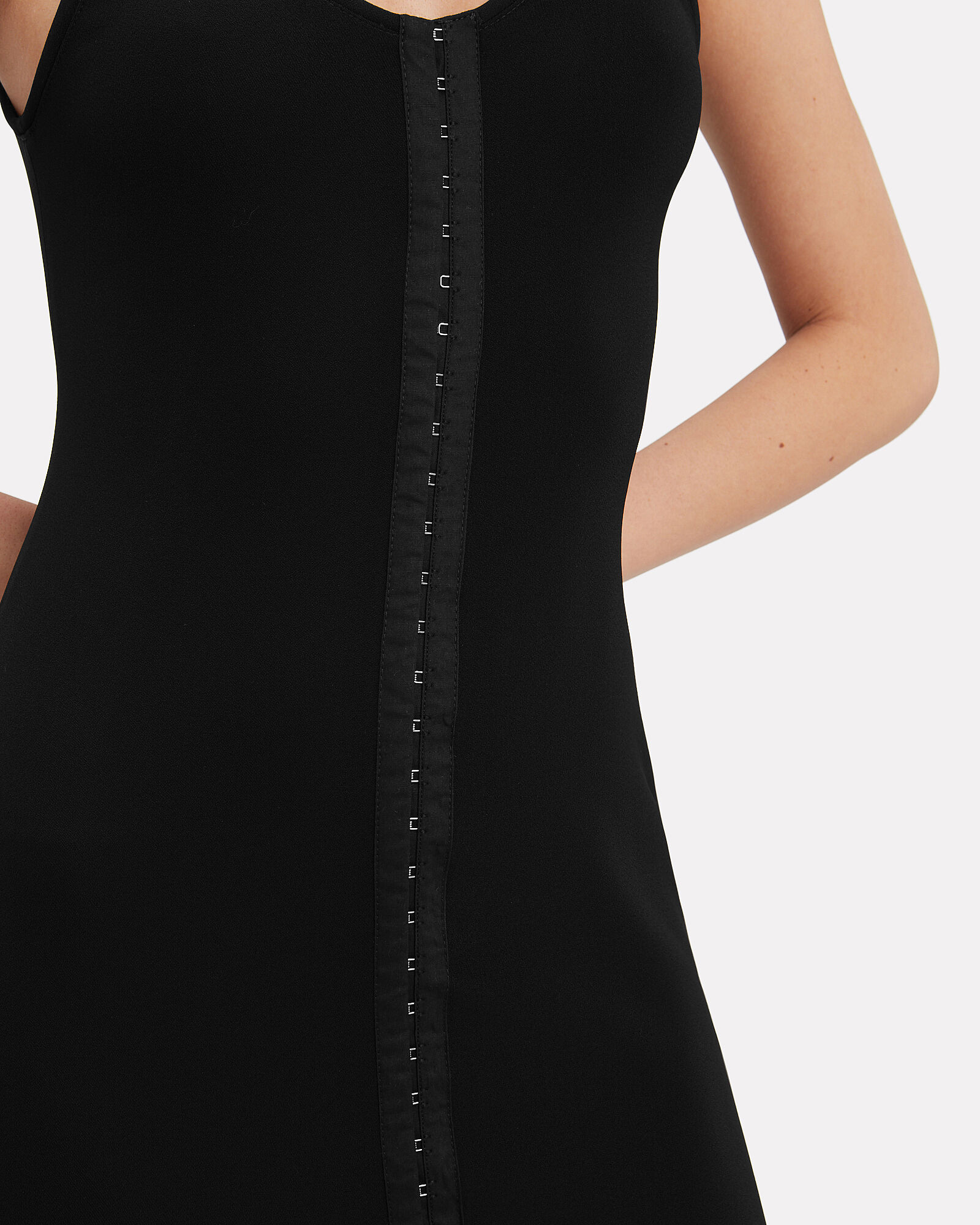 Corset Hooks Midi Dress, BLACK, hi-res