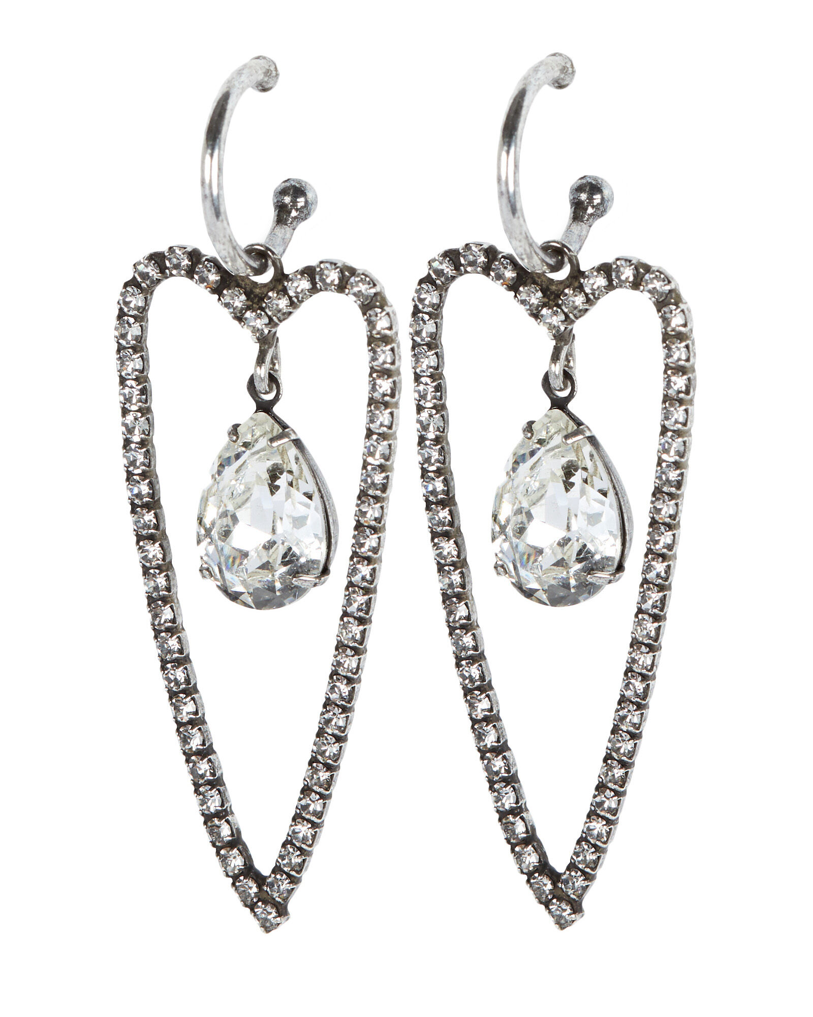 Alice Crystal Heart Earrings, , hi-res
