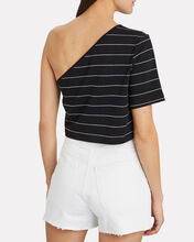 Striped Bare Shoulder T-Shirt, BLACK/WHITE, hi-res
