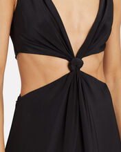 Loop Knot Mulberry Silk Gown, BLACK, hi-res