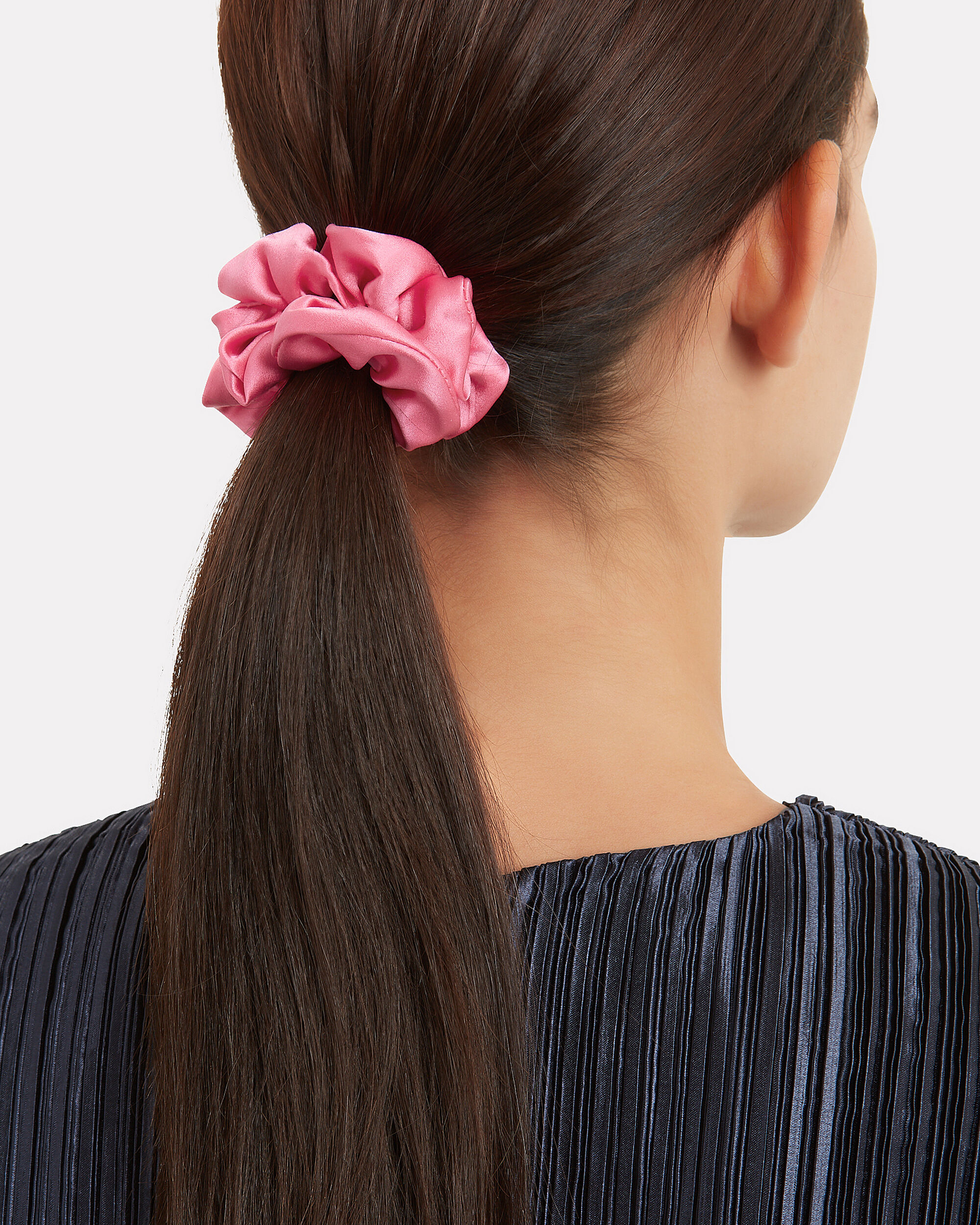 Set Of 2 Silk Pink Scrunchies, PINK, hi-res