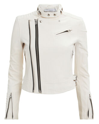 Lucia White Leather Jacket, WHITE, hi-res