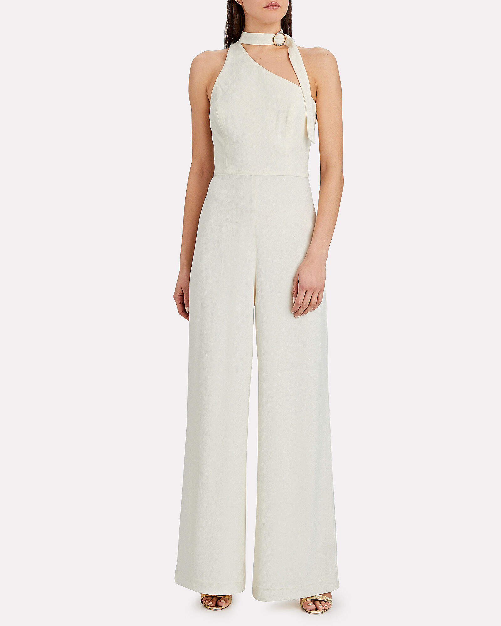 One-Shoulder Tie Neck Jumpsuit, IVORY, hi-res