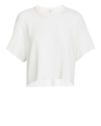 Sequin Crop T-Shirt, WHITE, hi-res