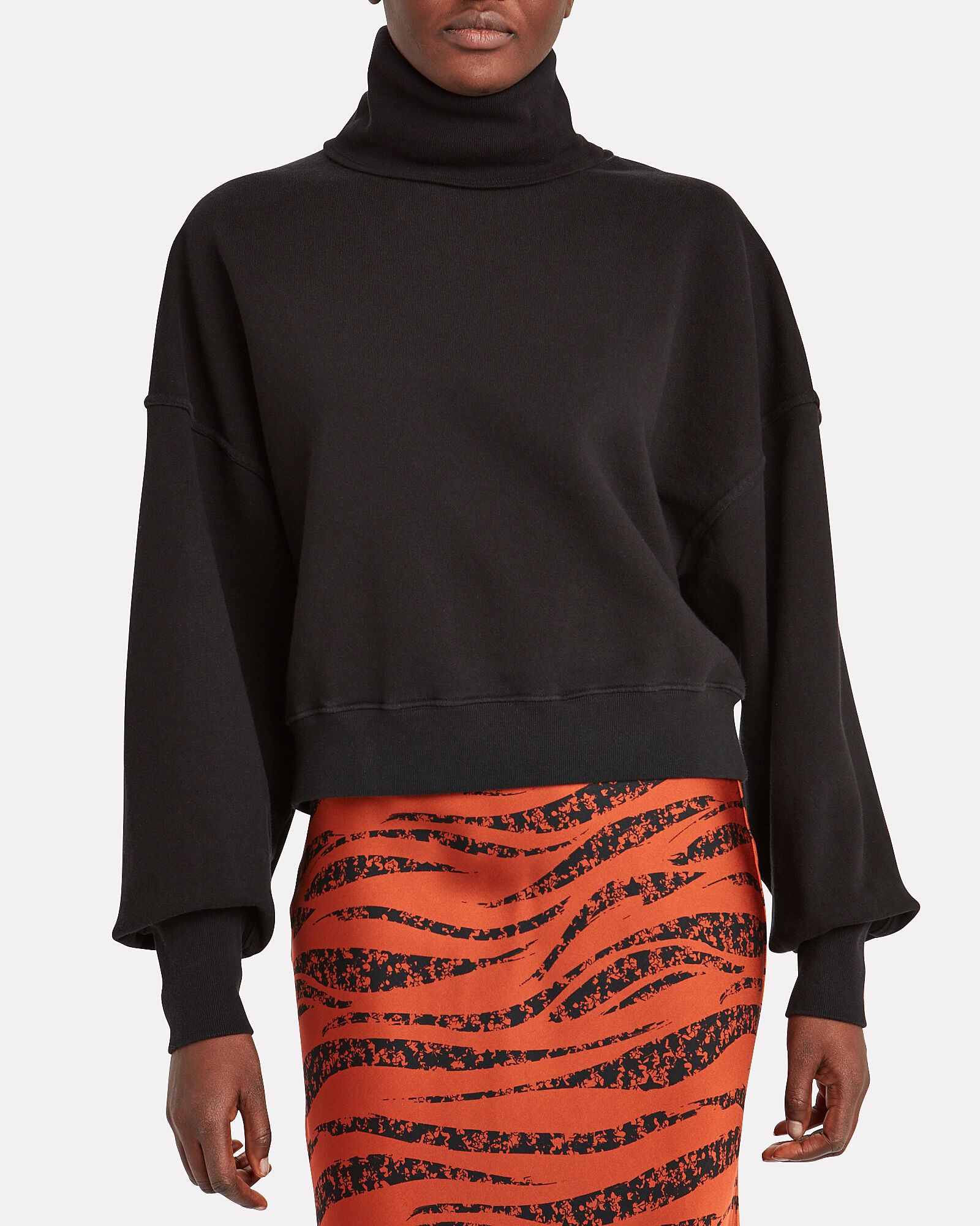 Balloon Sleeve Turtleneck Sweatshirt, BLACK, hi-res