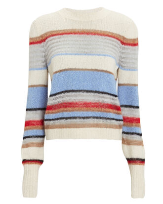 Meredith Pullover Sweater, IVORY/BLUE/RED STRIPE, hi-res