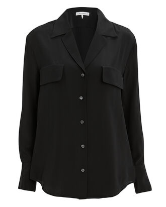 Noir Silk Blouse, BLACK, hi-res