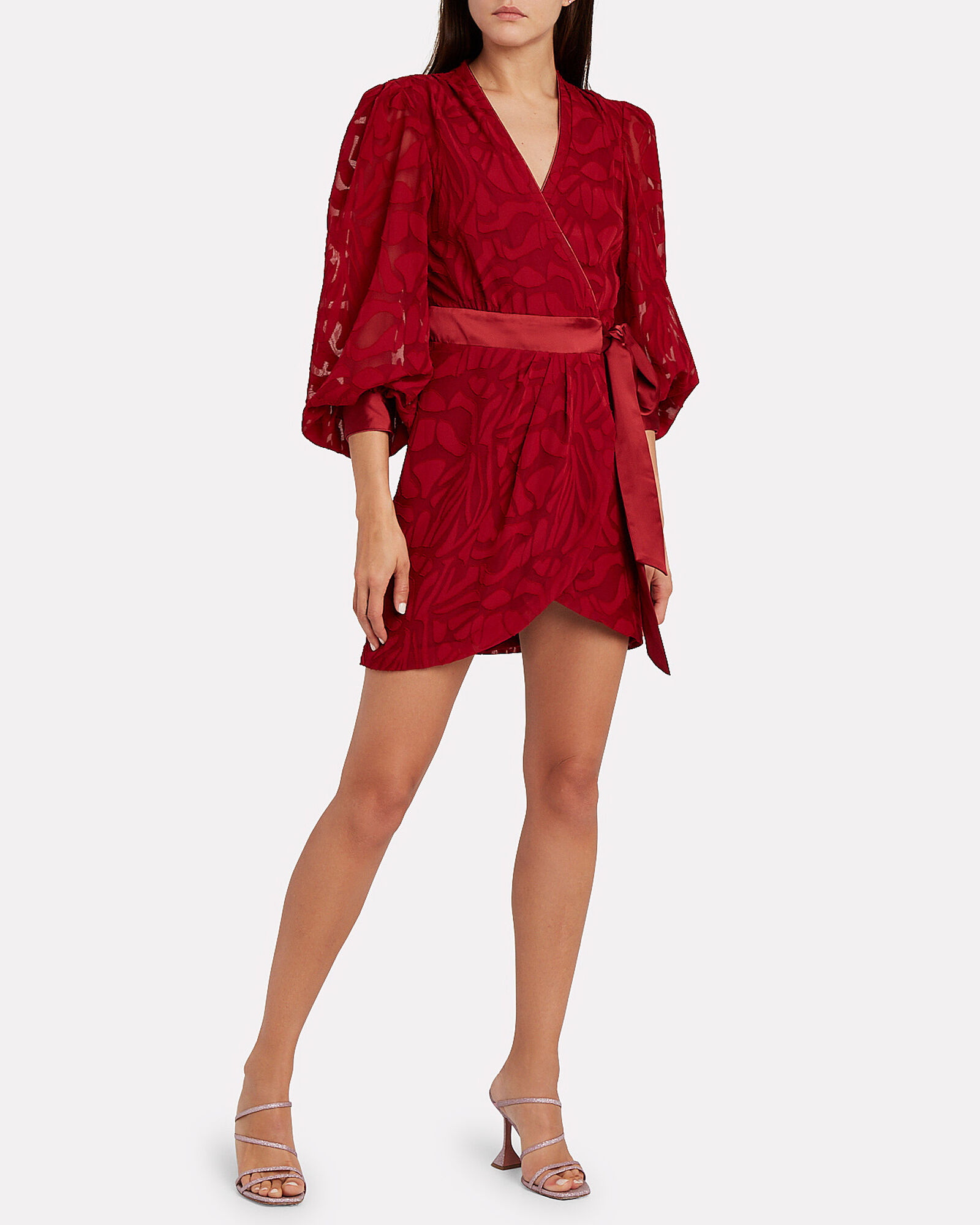 Fil Coupé Wrap Mini Dress, RUBY, hi-res