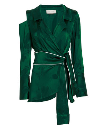 Dayle Satin Jacquard Wrap Top, EMERALD, hi-res