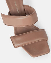 Puffer Leather Sandals, BROWN, hi-res