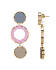 Reflection Bronze And Pink Circle Earrings, PINK, hi-res