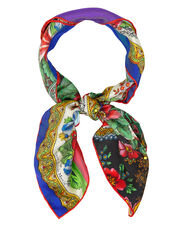 Floral Neck Tie Scarf, PURPLE/YELLOW/RED, hi-res