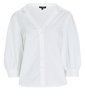 Olympia Puff Sleeve Button-Down Shirt, WHITE, hi-res