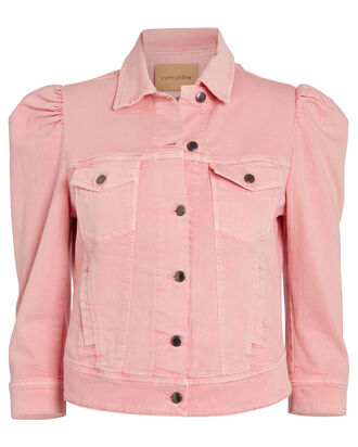 Ada Cropped Denim Jacket, PINK, hi-res