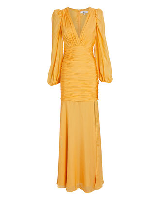 Marianne Silk Chiffon Gown, YELLOW, hi-res