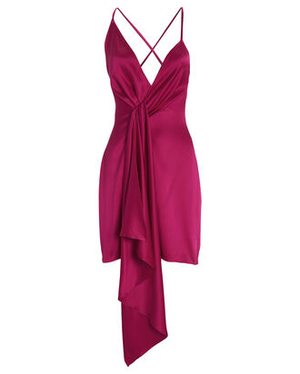 Twisted Silk Mini Dress, MAGENTA, hi-res