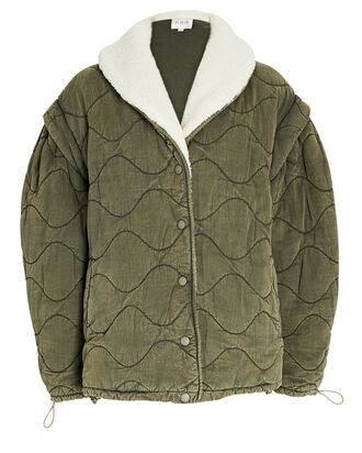 Layla Quilted Cotton Puffer Jacket, OLIVE/ARMY, hi-res