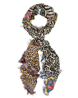 Leopard Mixed Print Oversized Scarf, BLACK/BROWN/RED, hi-res