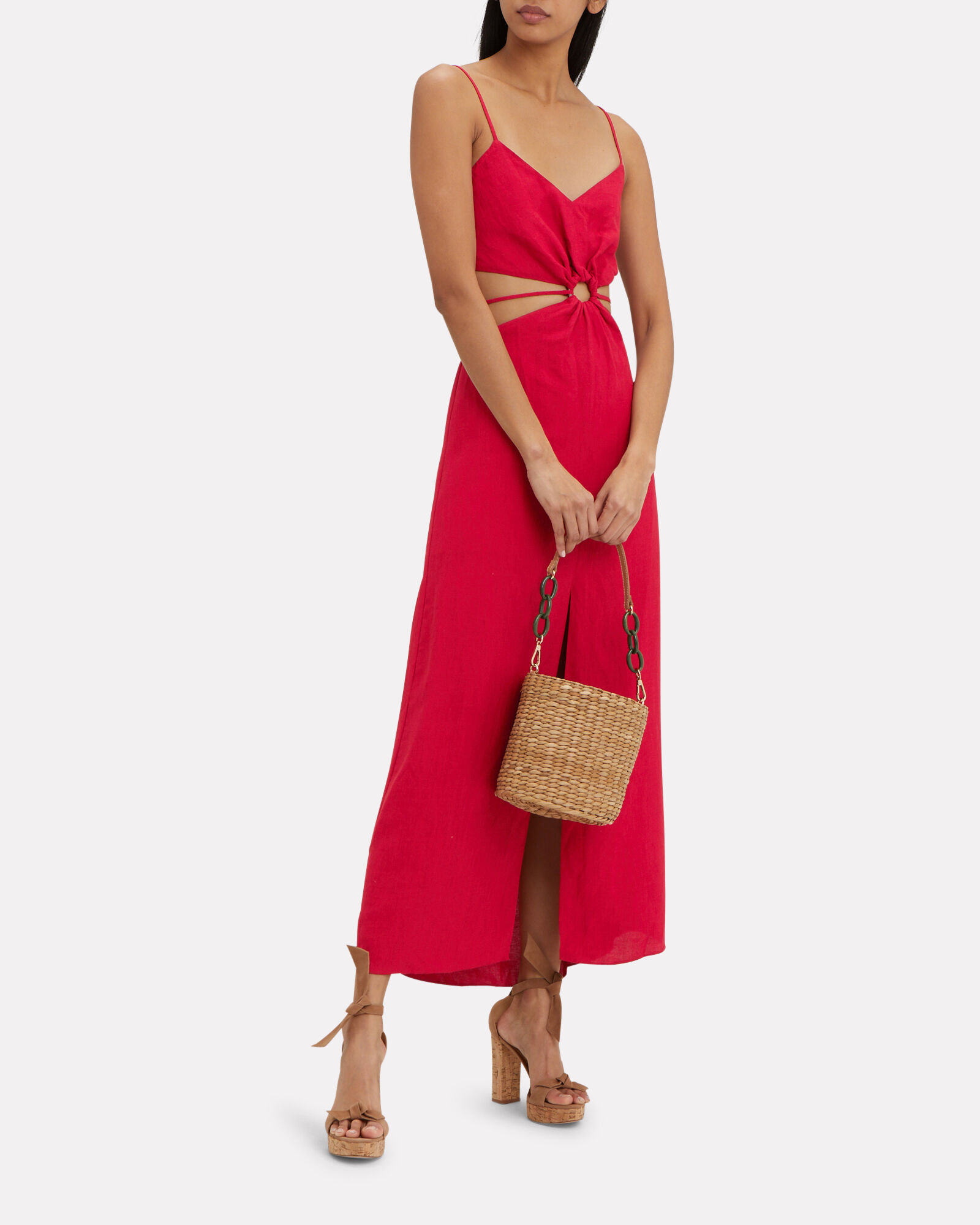 Linen O-Ring Cut Out Dress, RED, hi-res
