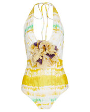 Calen One Piece Swimsuit, YELLOW/STRIPE, hi-res