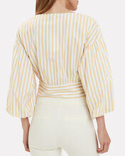 Cropped Bell Sleeve Tie Waist Blouse, YELLOW, hi-res