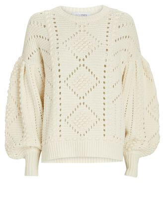 Brianna Wool-Blend Cable Knit Sweater, IVORY, hi-res