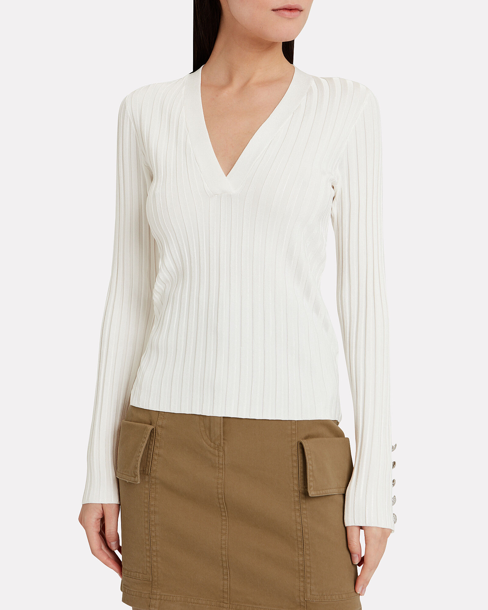West Ribbed Cotton Sweater, IVORY, hi-res