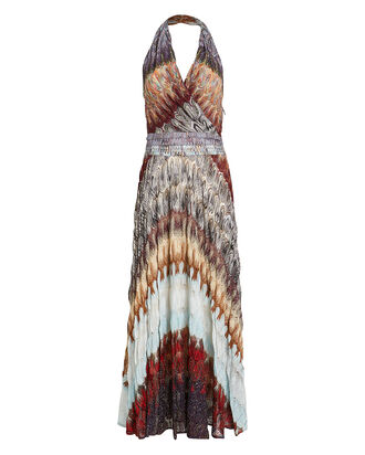 Halter Rainbow Knit Maxi Dress, RAINBOW WAVE, hi-res