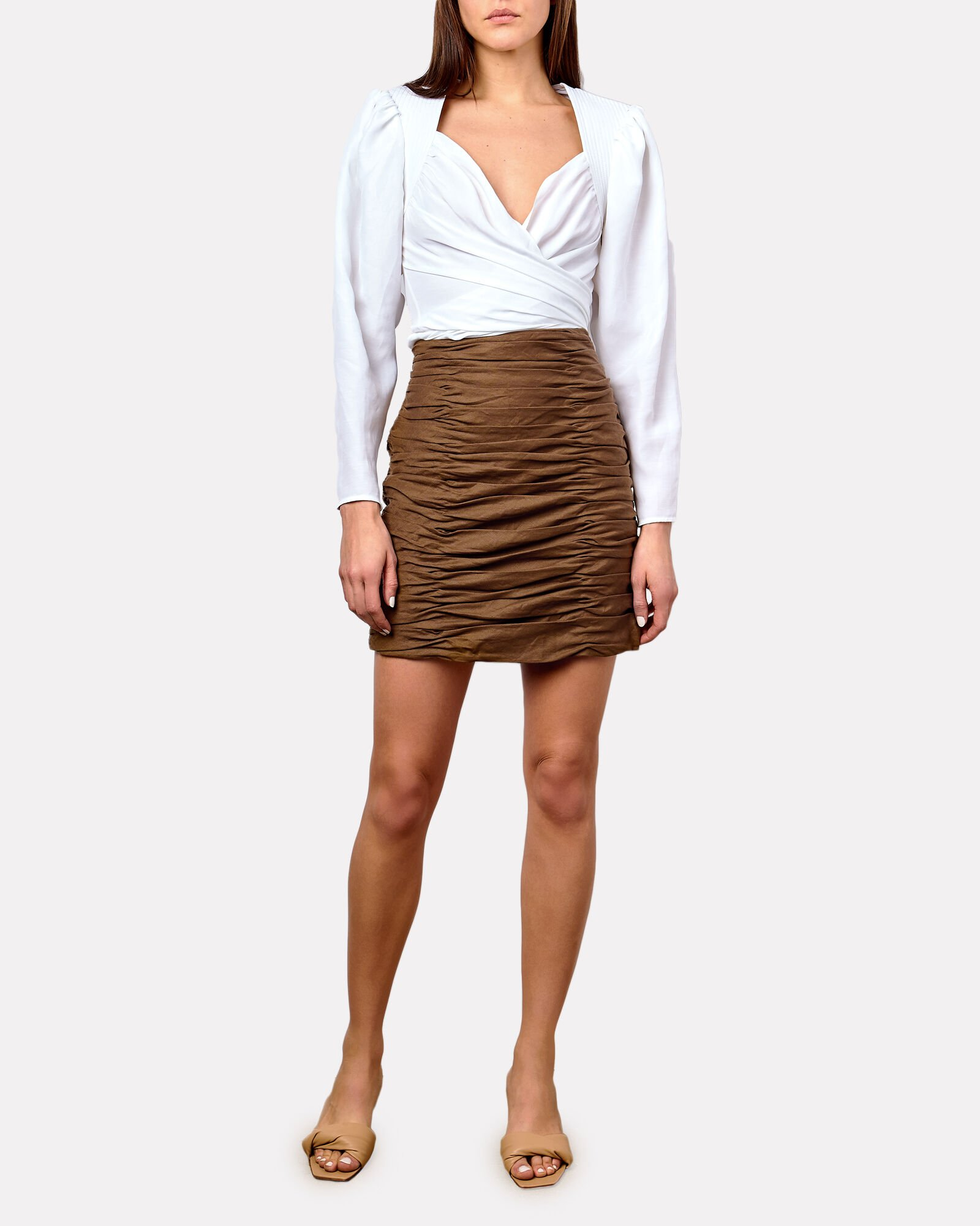 Ruby Ruched Linen Mini Skirt, BROWN, hi-res