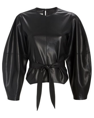 Corsa Vegan Leather Tie Top, BLACK, hi-res