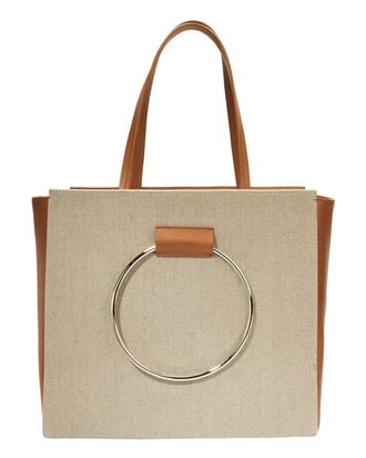 Canvas And Leather Ring Handle Tote, BEIGE, hi-res