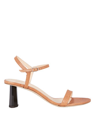 Magnolia Ostrich-Embossed Leather Sandals, BEIGE, hi-res
