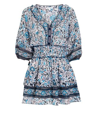 Ariel Floral Mini Dress, WHITE/BLUE, hi-res