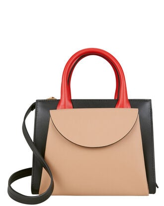 Colorblocked Crossbody Bag, BEIGE/BLACK/RED, hi-res
