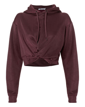 Twist Front Cropped Hoodie, RED-DRK, hi-res