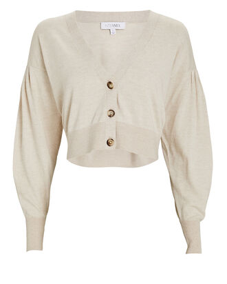 Marcy Puff Sleeve Cotton-Silk Cardigan, BEIGE, hi-res