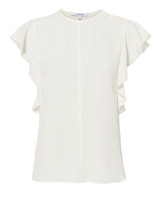 Ruffled White Blouse, WHITE, hi-res