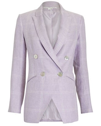 Nisha Double-Breasted Linen Blazer, PURPLE-LT, hi-res