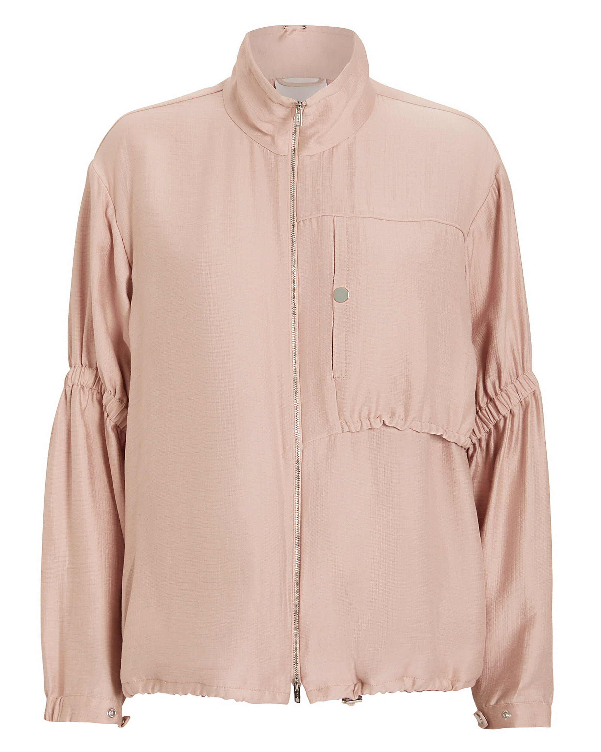 Zip-Up Anorak With Cinched Sleeves, BLUSH, hi-res