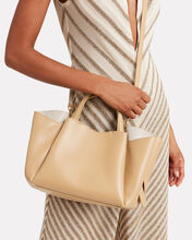 Holly Pleated Leather Shopper, BROWN, hi-res