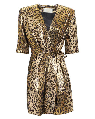 Leopard Lamé Mini Dress, GOLD, hi-res