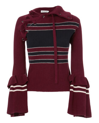 Lace-Up Striped Sweater, RED, hi-res