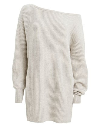 Jackie Wool-Cashmere Sweater Dress, CHALK, hi-res