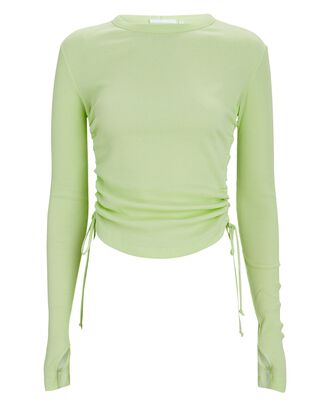 Double Rib Ruched Cotton Top, LIGHT GREEN, hi-res