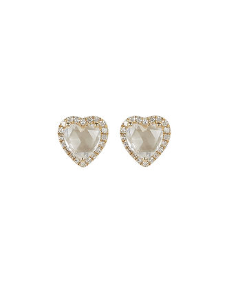 Topaz Heart Diamond Stud Earrings, GOLD, hi-res