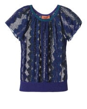 Blue Lurex Lace Top, BLUE-MED, hi-res