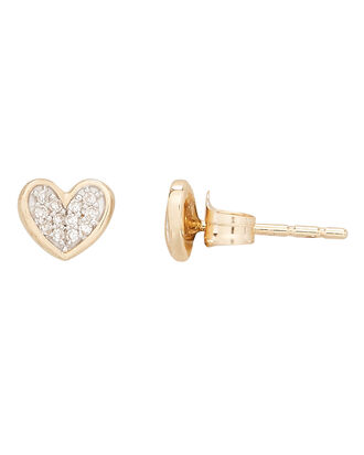 Pavé Folded Heart Posts, GOLD, hi-res