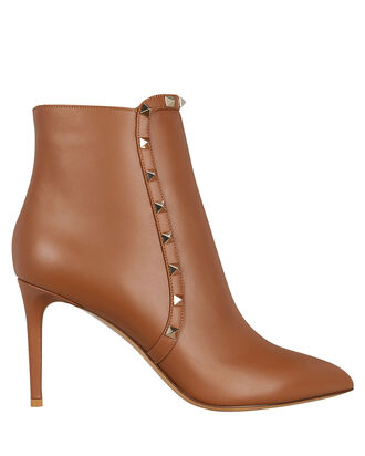 Rockstud Leather Ankle Boots, CARAMEL, hi-res